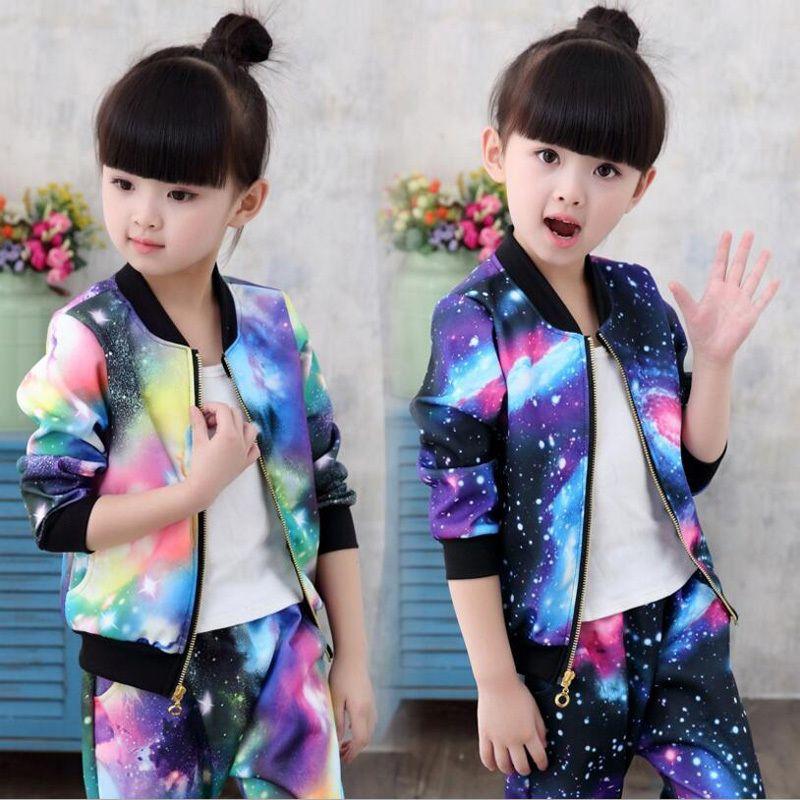 2019 Jacket for Girls Children Clothes Sets Kids Fashion Sports Suit Baby Girls Jacket Coat+Pants Children Girl Trend Tracksuit S200114