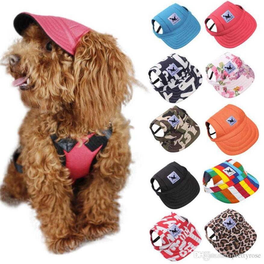 Hot Summer Pet Dog Berretto da stampa carino Cappello da baseball Cappellino da esterno per cani Cappellino per toelettatura per animali Accessori per cani gatti Taglia S M L XL