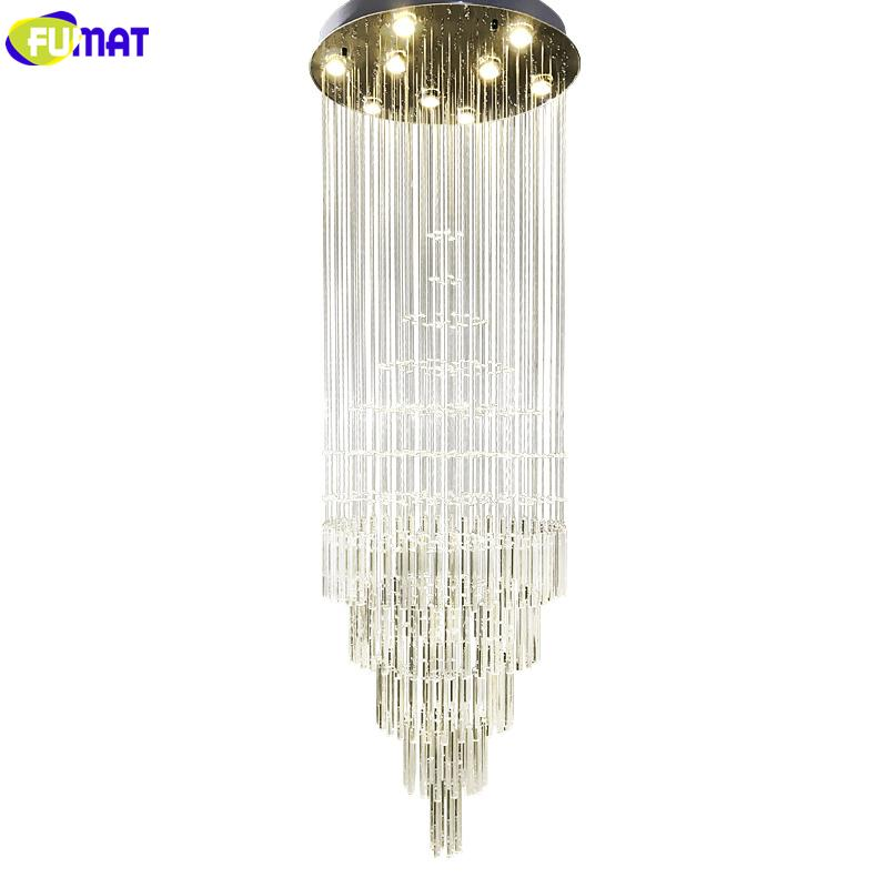 FUMAT Crystal K9 Spiral Staircase Villa Ceiling Lamps LED Modern Style Pyramid Layers Lights Penthouse Chandeliers Plafondlamp