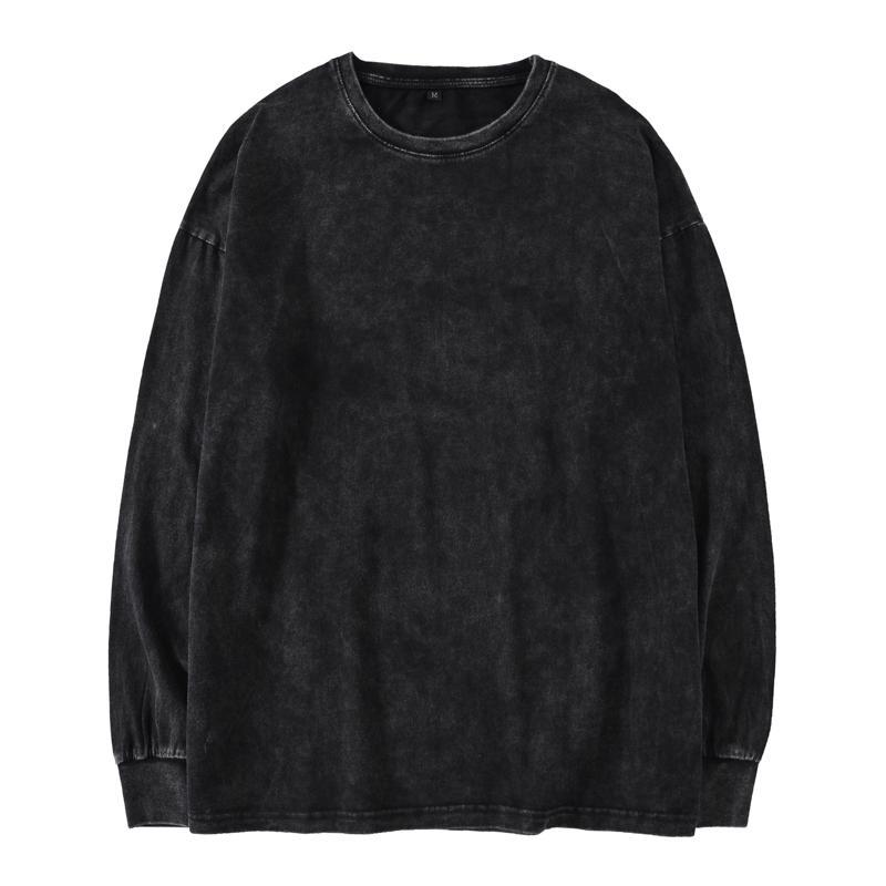 Kanye West de gran tamaño de manga larga camiseta de los hombres de hip hop pesada lavada camisetas para los hombres O cuello en las camisetas de manga larga Hombre Streetwear MX200509