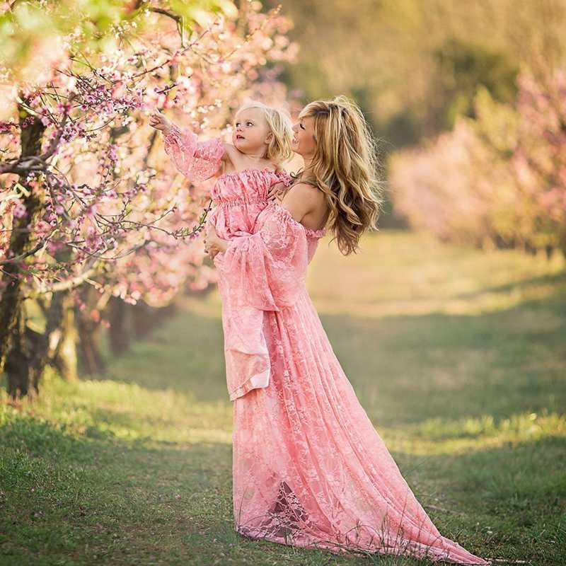 Robes de maternité pour Shoot photo de l'épaule dentelle Maxi robe grossesse Photographie Robe Femmes enceintes Robe à volants
