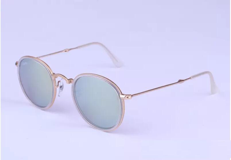nuevo marco 3517mirror llegada plegable de metal gafas de sol redondas mujeres gafas de sol gafas de sol gafas Uniex 48mm vendimia