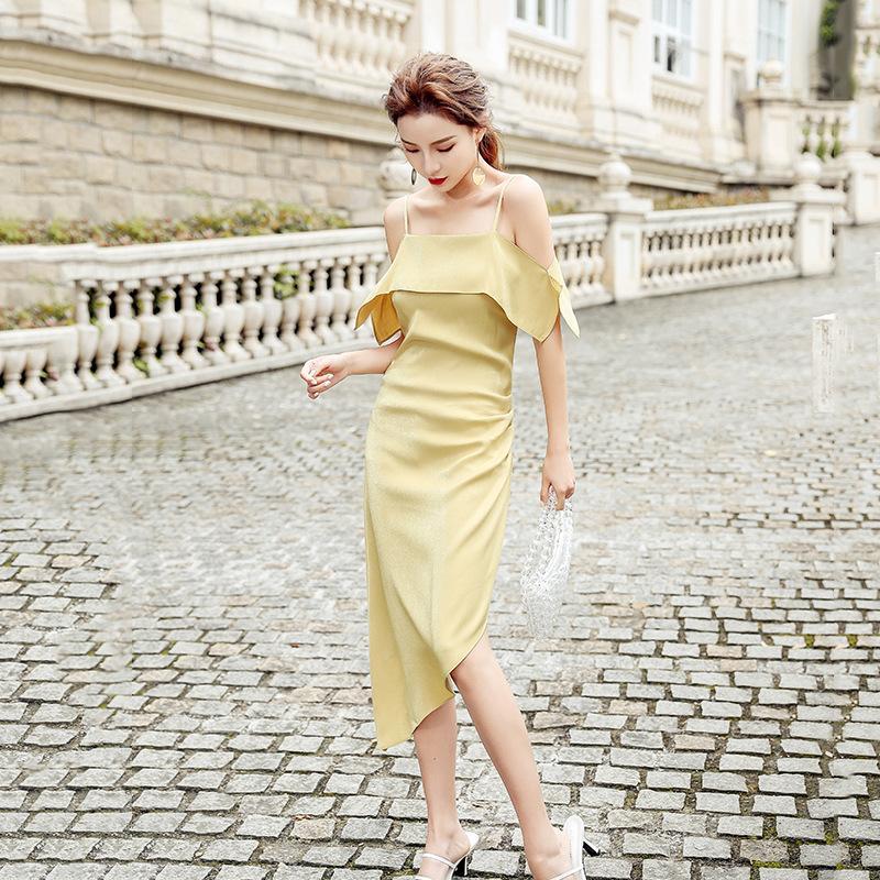 2020 봄 여름 여성 새틴 솔리드 드레스 프릴이 불규칙한 섹시한 오프 숄더 SleevelessParty 드레스 한국어 긴 섹시한 드레스
