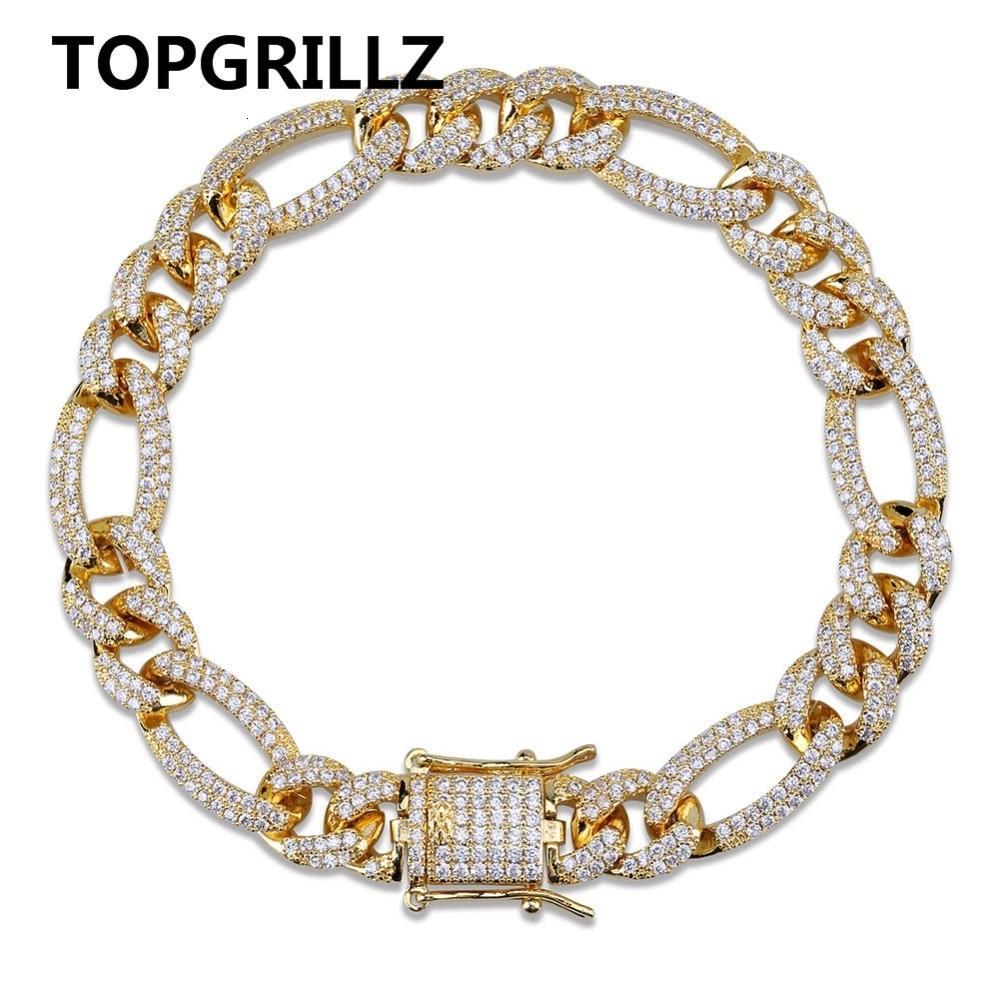 TOPGRILLZ oro plata Color helado circón cúbico cubano cadena pulsera hombres Hip Hop encanto tendencia joyería regalos CJ191116