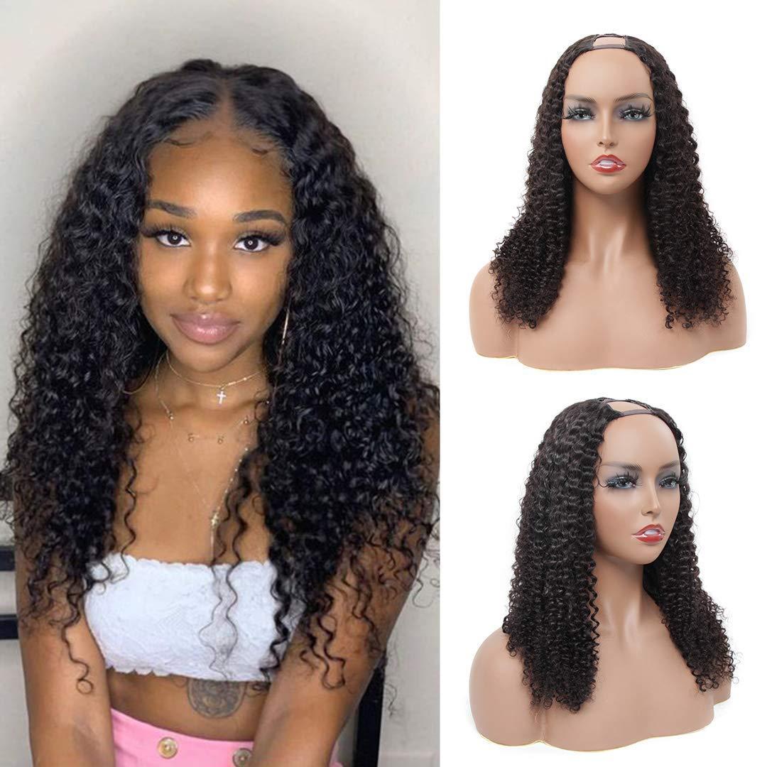 En bruto rizado rizado T Parte humana brasileña peluca de pelo 10-24 pulgadas 130% Densidad del color natural puede ser teñido para las mujeres Negro
