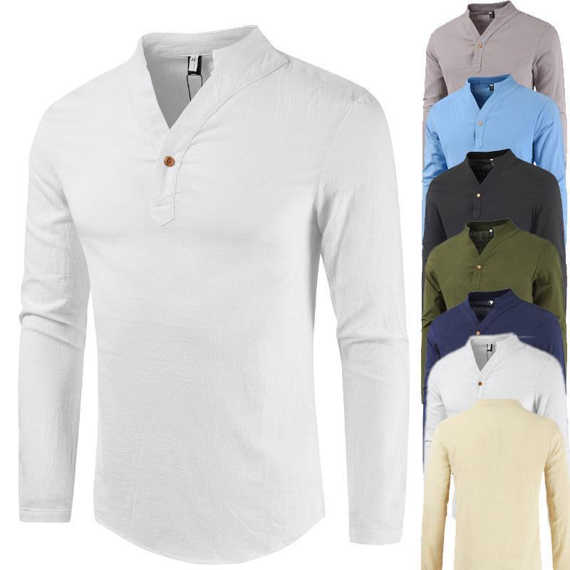2019 Yaz V yaka Pamuk Keten Uzun kollu tişört Erkekler Keten Büyük Beden Taban Gömlek Erkekler Tek Düğme Uzun kollu tişört