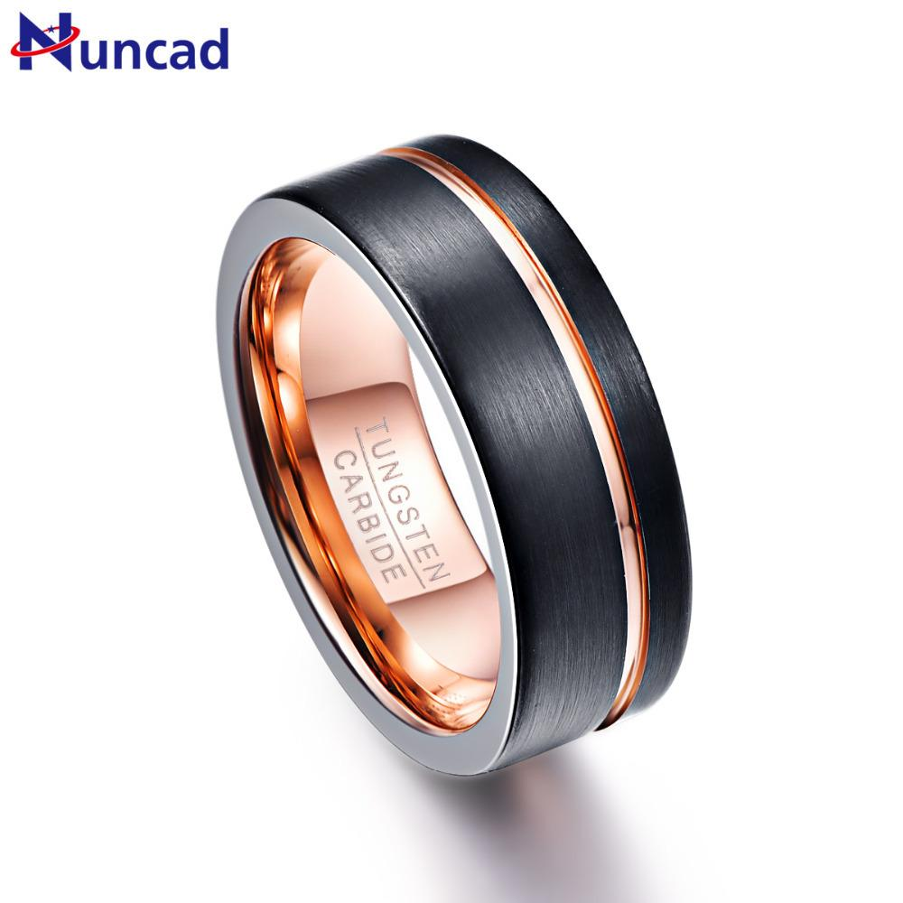 NUNCAD Mens 8mm Tungsten Carbide Ring Blue//Green//Red//Purple Opal and Abalone Shell Wedding Engagement Ring Band Size 6 to 14