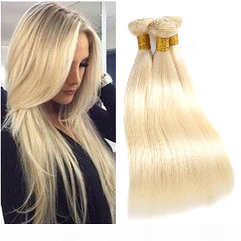 Малазийский человеческих волос 3 Связки 613 # Цвет Блонд шелковистые прямые волосы девственницы Extensions Straight 3 шт серия 613 Blonde 8-30inch
