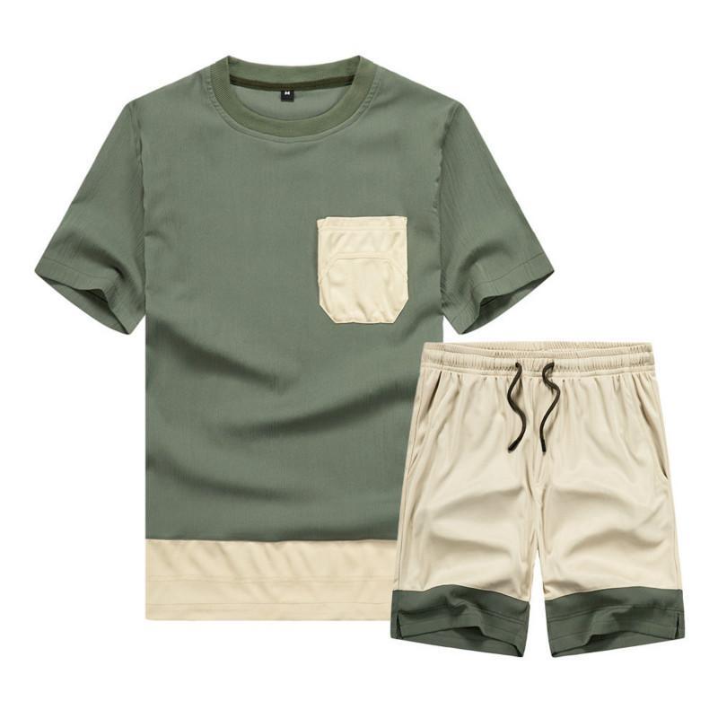 2020 Summer New 2 Pc Pocket Hommes Ensembles T-shirt Shorts Survêtement hommes Vêtements Survêtement Mode Marque Patchwork Vêtements de sport
