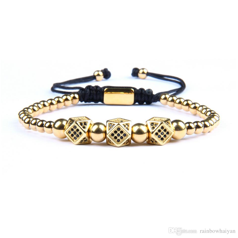 Wholesale 10pcs/lot New Irregular Geometric Faced CZ Rivet Braiding Bracelets With Stainless Steel Beads Top Quality