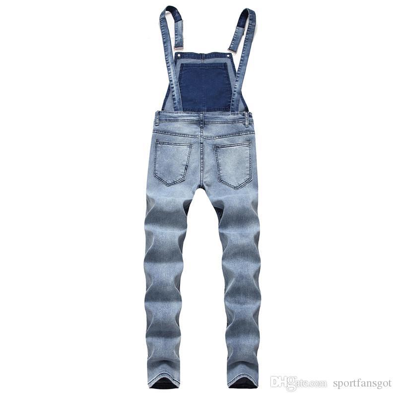 2019 Fashion Man Jeans Slip Tute da uomo solido Tuta Slim Pagliaccetti Casual Tuta grande in denim tuta Moda Jean Tuta