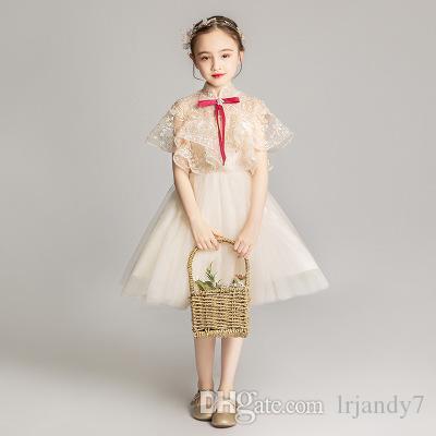 Abiti da spettacolo per bambine con perline in pizzo Abiti da festa per le feste Festa della damigella d'onore Compleanno Tulle Pizzo Champagne Tulle Flower Girl Dress