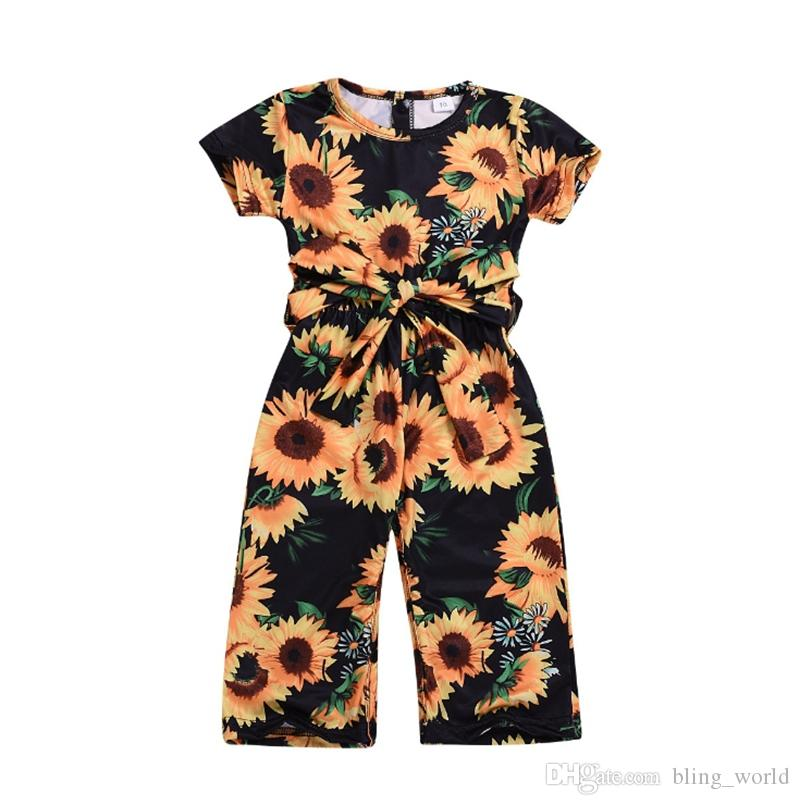 2021 Baby Girl Clothes Sunflower Printed Girls Rompers Floral Princess  Jumpsuits Short Sleeve Sash Baby Climbing Clothes Kids Clothing YW3223 From  Bling_world, $4.82 | DHgate.Com