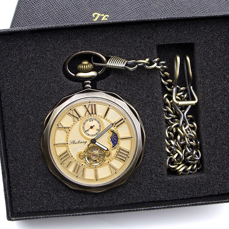 럭셔리 고품질 골든 달의 위상 기계 회중 시계 로마 숫자 뚜르 비옹은 펜던트 체인 남성 여성 PJX1398 다이얼
