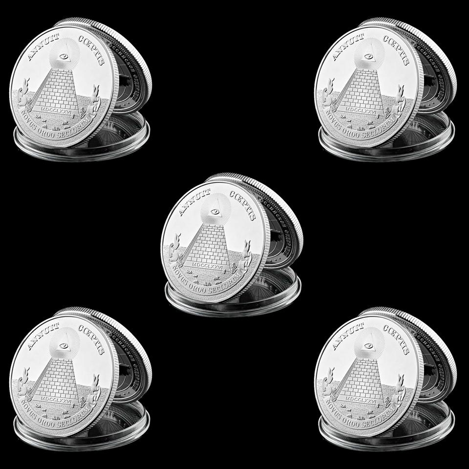 5Pcs Coeptis Masonic USA National Emblem Annuit 1oz Silver Plated Token Metal Coin Collectible Lot