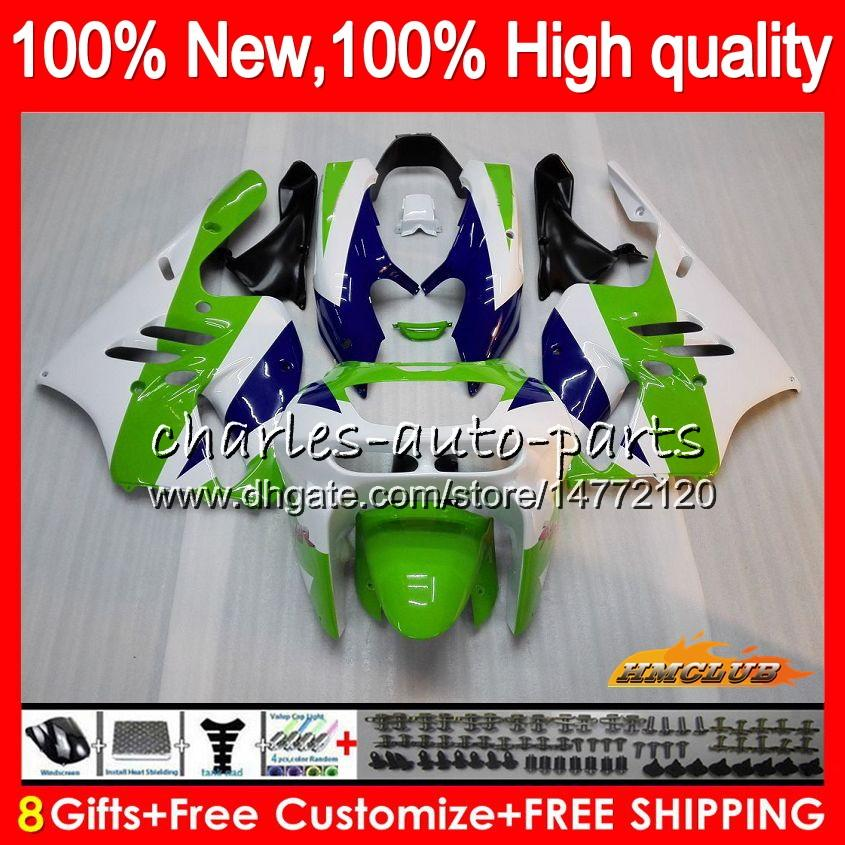 Corpo per Kawasaki ZX900 900 CC ZX9R verde bianco 94 95 96 97 47HC.10 ZX 900 R 9 94 97 ZX 9R 900cc ZX9R 1994 1995 1996 1997 kit completa carenatura