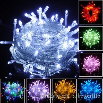 luz do feriado do Natal ao ar livre 10m 100 LED seqüência de 8 cores vermelho / verde / RGB luzes feericamente Waterproof luz Jardim Festa de Natal