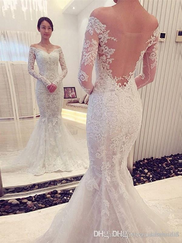 Sexy Off the Shoulder Lace Wedding Dresses Mermaid Long Sleeve Wedding Dress Bridal Gowns Sheer Back Bride Formal Gown Vestidos De novia