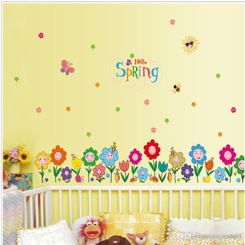 Spring home decorative wall stickers clover wallpapers Gifts for Kids Room Decor Sticker Cute Flowers grass decorative Glass Stickers