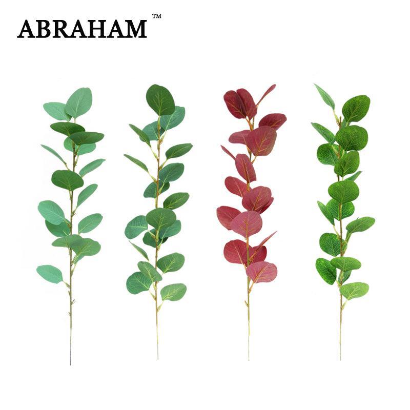 결혼식 가을 데코 56cm 5PCS 실크 잎 지점 인공 식물 열대 나무 단풍 가짜는 유칼립투스 잎 녹색 식물