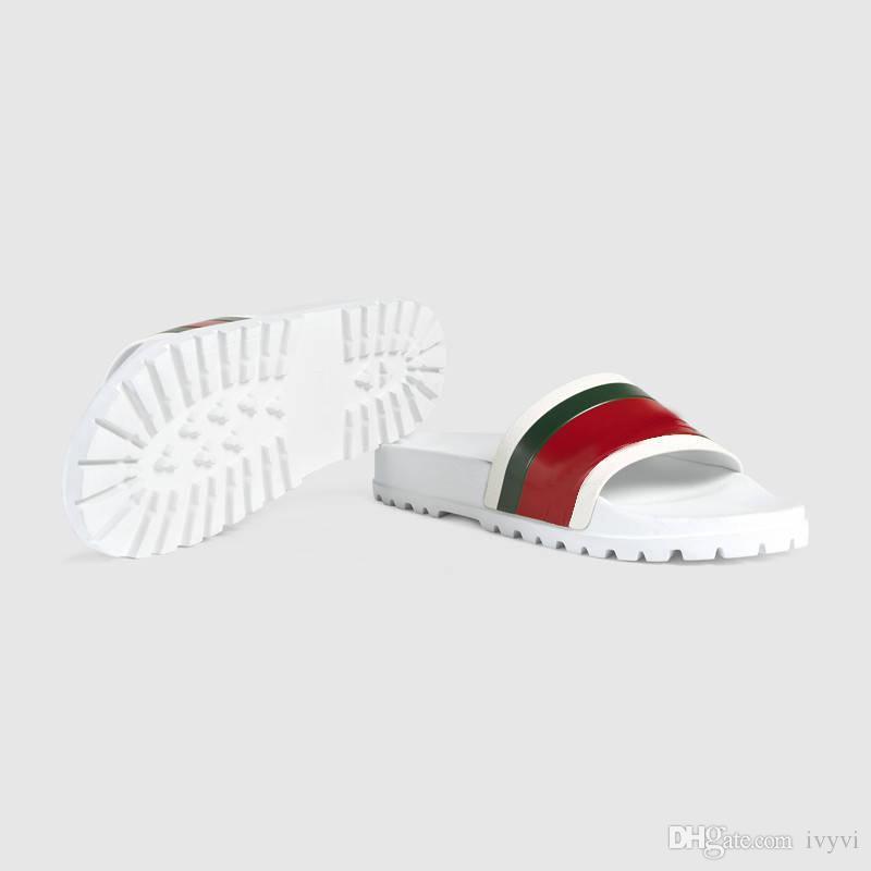 Diseñador de zapatillas de lujo de la moda de diapositivas auténtico brocado floral de goma para mujer para hombre zapatillas partes inferiores del engranaje de rayas tejidas sandalias causales Beach