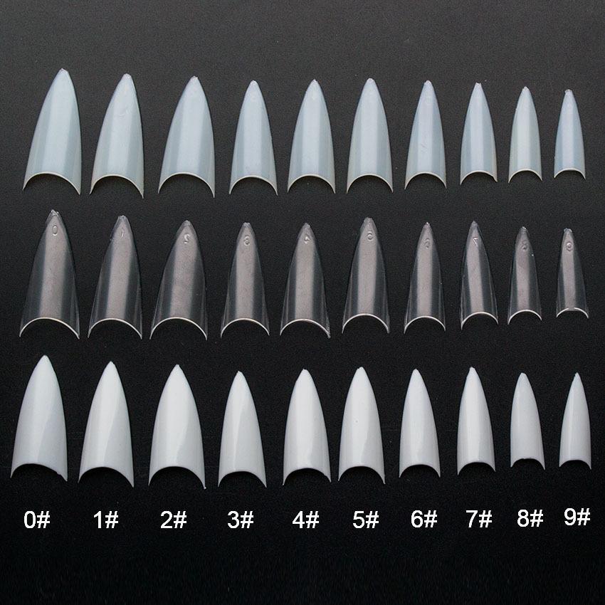 100 teile / paket Falsche Natürliche / klar / weiß Stiletto Sharp Französisch Acryl Künstliche Falsche Nagelspitzen Design Dekoration Jzj3011