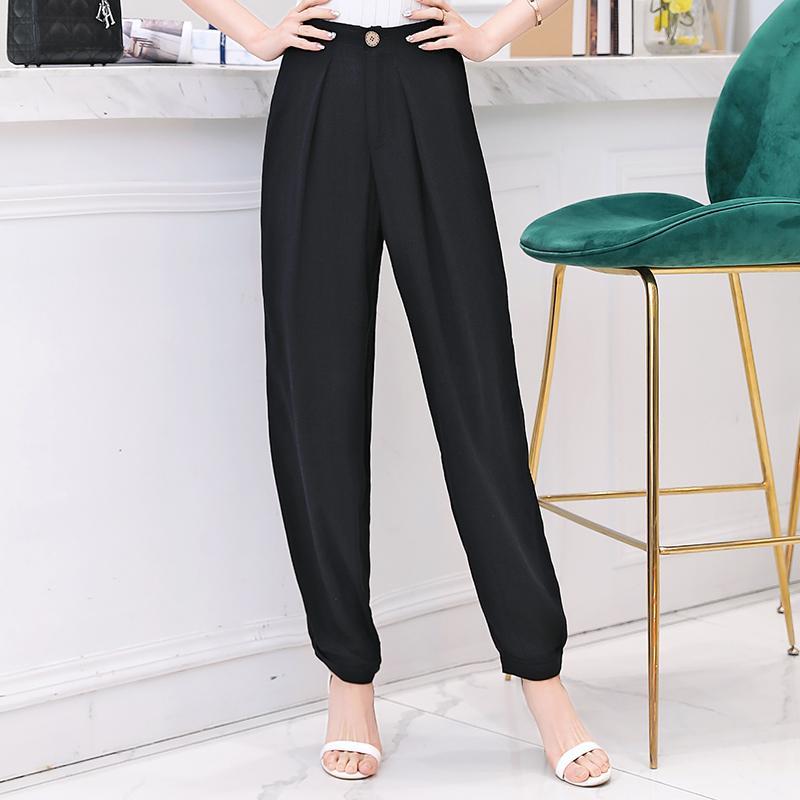 Plus Size 5XL-Sommer-Frauen-Baumwollleinenharemshosen 2020 beiläufige Weinlese hohe Taille Lange Hose-Qualitäts-Frauen Schwarze Hosen