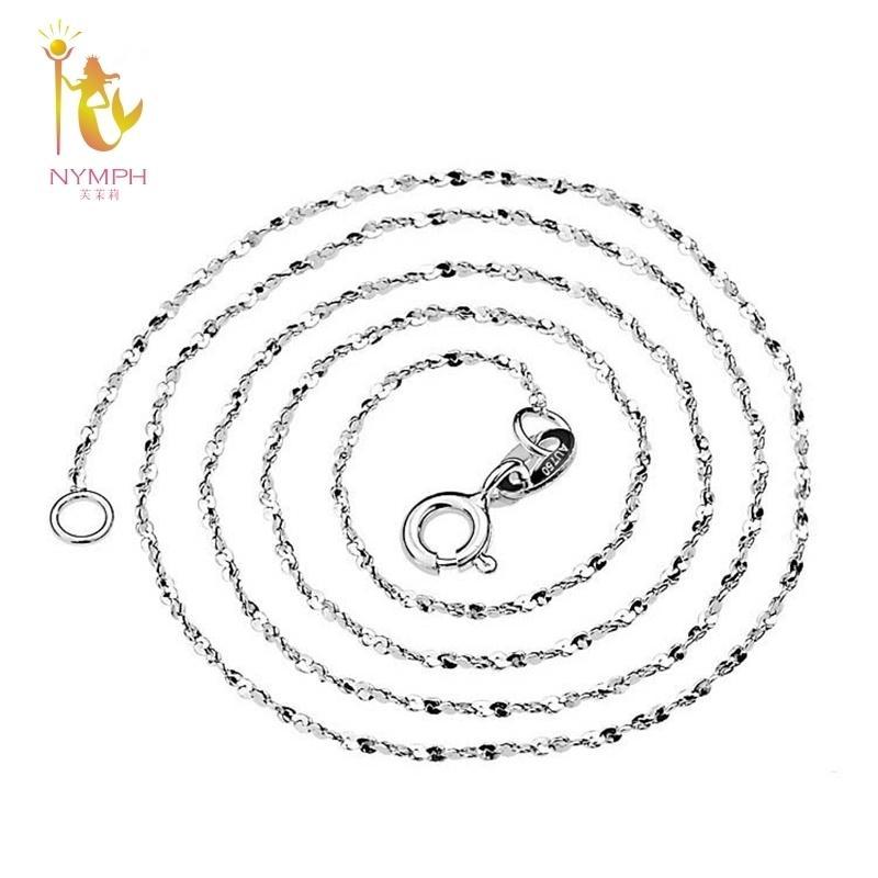 Ninfa genuino 18 k collar de oro blanco joyería fina Au750 joyería O forma del regalo del banquete de boda para las mujeres 40/45 cm X311 Y19052301