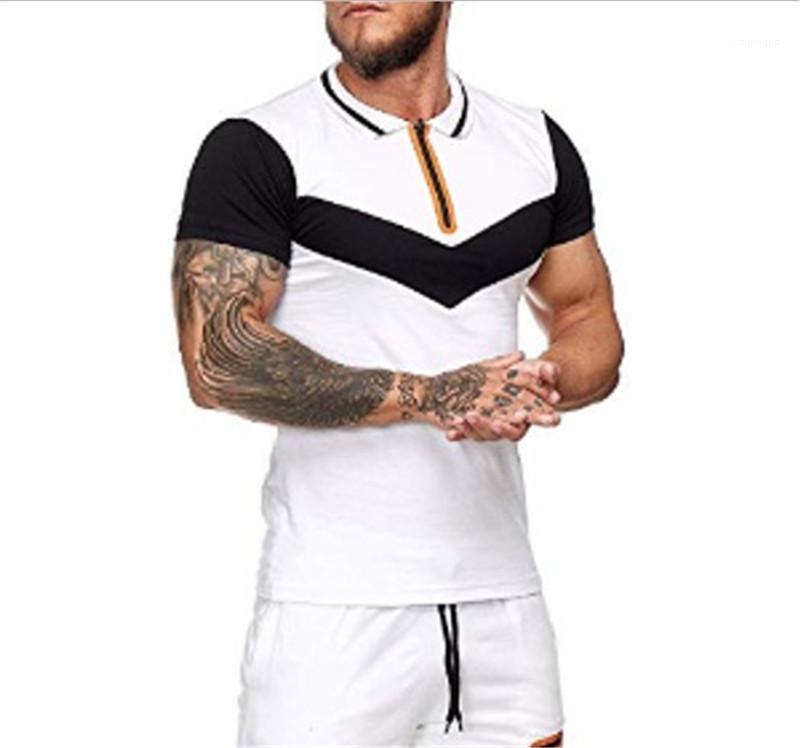 Hombres cortos solapa ropa casual de la solapa Color de rayas naturales Tshirts Tshirts Sleeve de manga de cuello con paneles de moda OKJRS