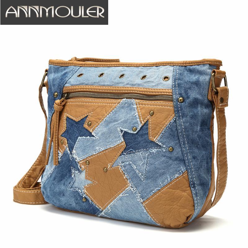 Las mujeres forman bolsos de lujo bolso del diseñador de los pantalones vaqueros del bolso de hombro de la estrella del remiendo de los pantalones vaqueros Bolsa suave piel lavada de Crossbody del monedero T200430