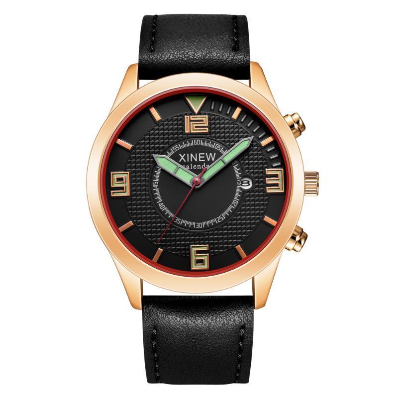 Hombres simple dial del análogo de cuarzo del calendario suave pu banda de cuero reloj deportivo al aire libre carcasa de aleación de moda relojes baratos