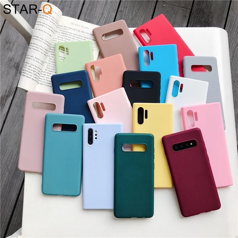 cor caixa do telefone de silicone doces para Samsung Galaxy Note 10 9 8 S10 S10e S9 S8 s20 mais e galaxi mate suave TPU volta cobrir casos