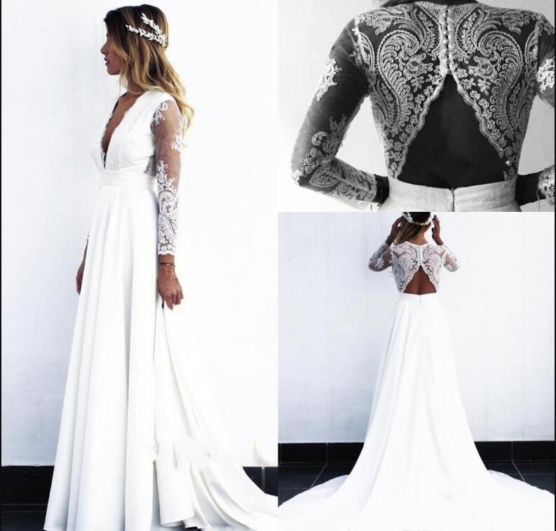 2020 Cheap Beach Boemia abiti da sposa profondo scollo a V lungo illusione lungo abito da sposa maniche Abiti da sposa vestido de novia robe de mar