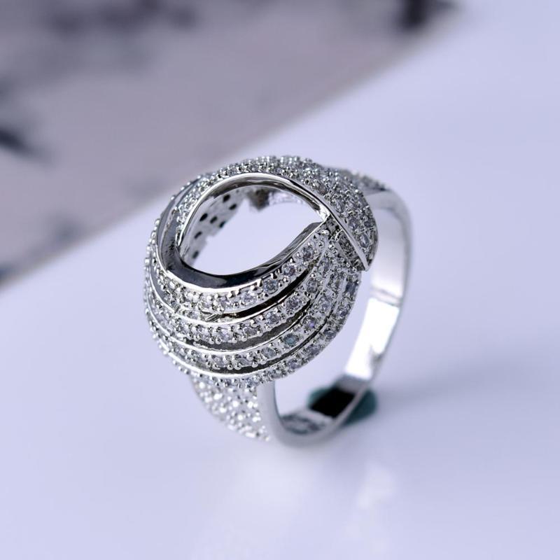 Grandes anillos de dedo de moda para el regalo de San Valentín mujeres circón cúbico nupcial alianzas de boda de lujo anillo de la joyería