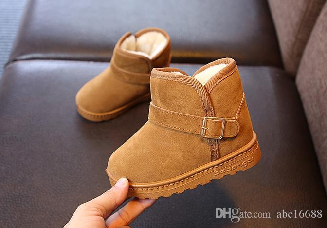 nuevos niños y niñas de invierno calientan botas antideslizantes para niños botas de nieve para niños Zapatos de bebé de lana de cuero genuino