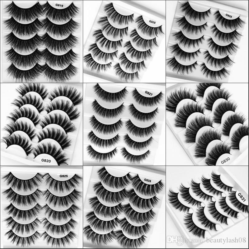 5 Pairs 3D Faux Cils Thick False Eyelashes Soft Faux Mink Hair Lashes Handmade Eyelash Extension Wispy Lashes Makeup Maquiagem