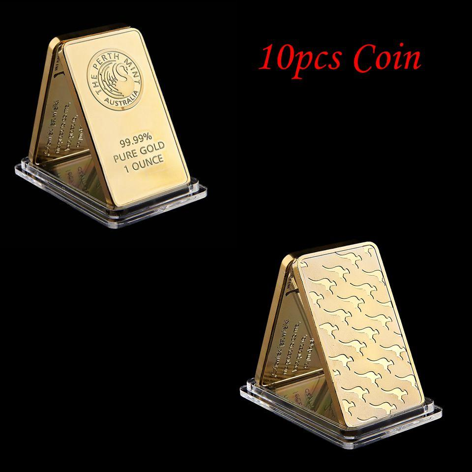 Free Shipping 10pcs/lot Australian Perth Mint 1oz Gold Plated 24K Gold Bar High Quality Collectibles Gifts Crafts