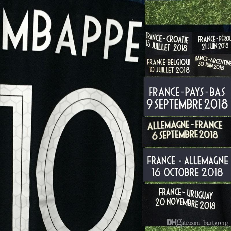 2018 2019 final jogo jogo desgastado jogador de jogador mbappe grisezmann pogba kante com detalhes vs croatia uruguai pays-bas allemagne futebol patch