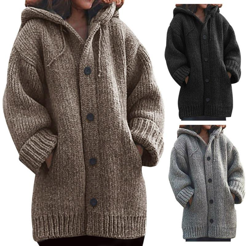 Plus Size Women Winter Jumper Jacket Coat Cardigans Lady Long Zipper Outerwear