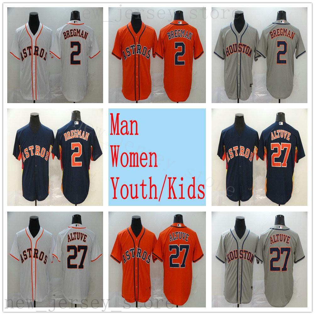 2020 hombres mujeres juventud niños béisbol 27 jose altuve 2 alex bregman 4 george springer jerseys cosido oro blanco negro marina naranja gris