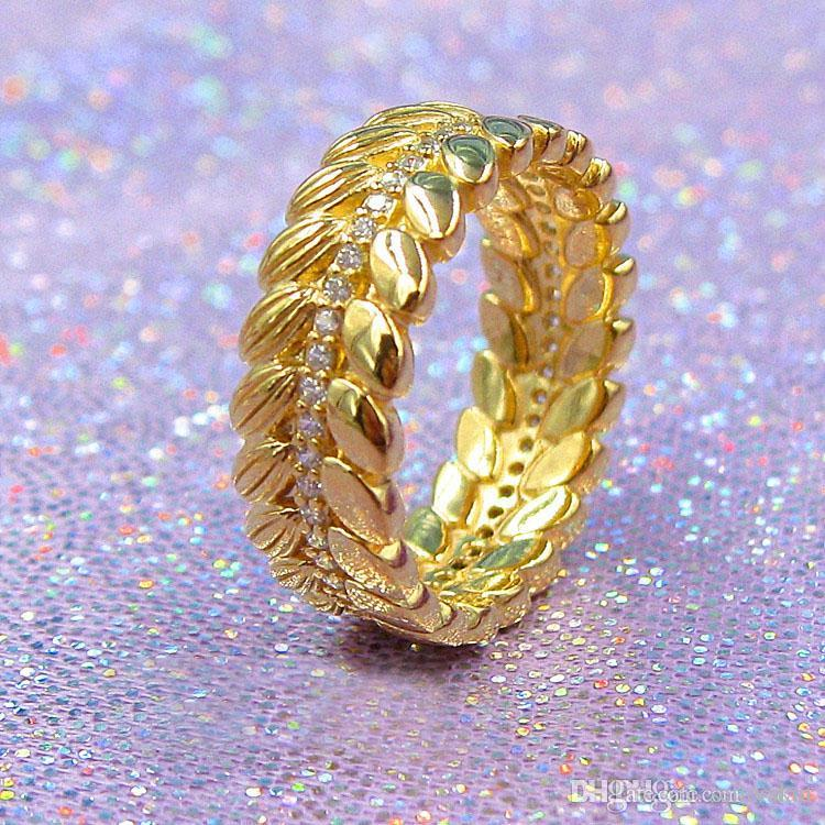 arrival 18K Yellow Gold Shine grain RING with Original Box for Pandora Real 925 Silver Wedding Gift Rings Set