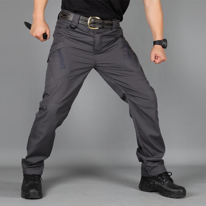 Delgado Pantalones tácticos ventilador del ejército del recto Multi-bag resistente al desgaste de los guardapolvos de los hombres ocasionales de los pantalones al aire libre de senderismo pantalones masculinos