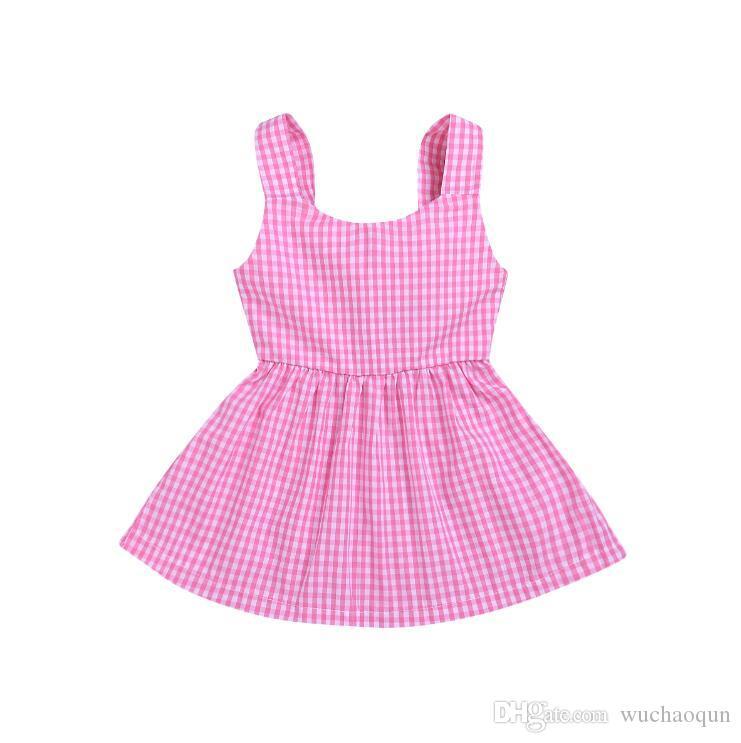 Newborn baby girl clothes Summer Plaid Dress kids designer clothes girls Sleeveless Bow kids clothing dress 100% Cotton BY0826
