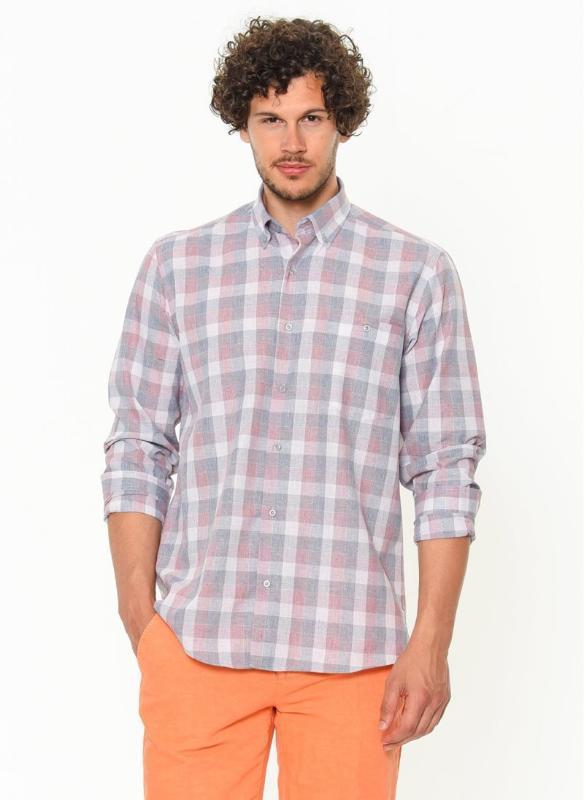 Varetta Man Classic Plaid Long Sleeve Shirt Men's Grid Cotton Shirts % 100 Cotton Mixed Color Top Shirts Male 'S Top Cloth Single Patch