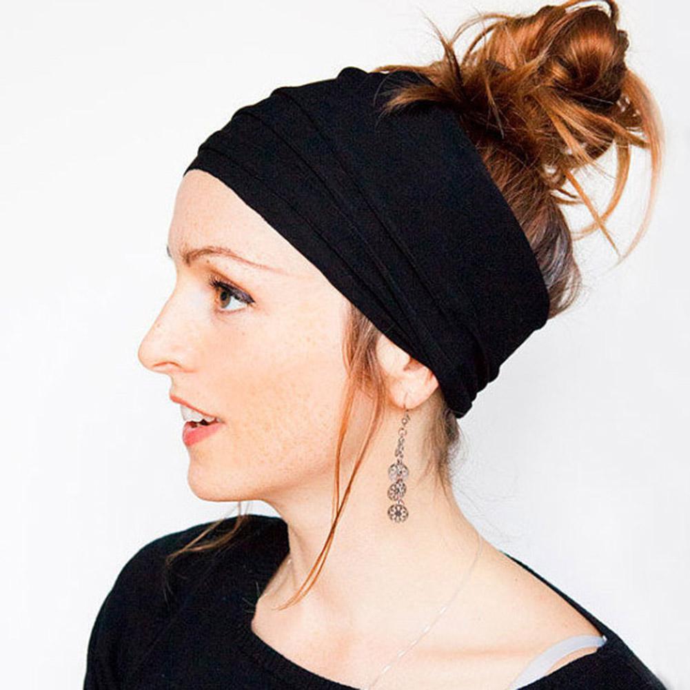 Frauen-breite Stirnband für Sport Workout Laufen Lässige Solid Color elastischen breiten Haar-Band-Kopf-Verpackungs-Haar