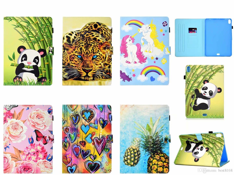 럭셔리 가죽 지갑 iPad Pro 11 11inch 2018 타이거 유니콘 고양이 팬더 나비 팬더 대리석 ID 카드 슬롯 커버 패션 파우치