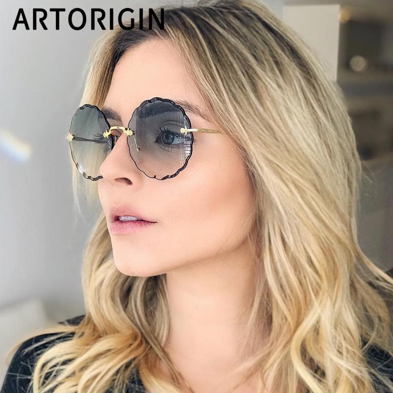 2019 Luxury Круглый солнцезащитные очки Женщины Марка Дизайнер Rimless ВС Очки для девушек Оттенок моды Рози Eyewear CX200704
