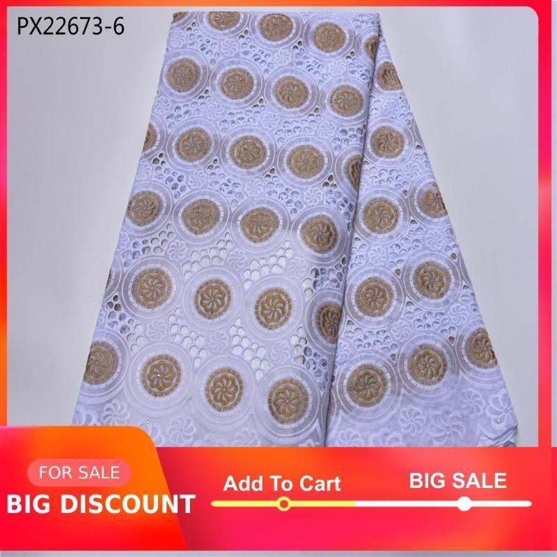 Nouveau style africain à venir tissu de coton Guangzhou dentelle markrt 5 verges poli dentelle sec pour les femmes