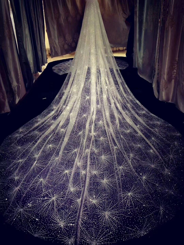 Sparkling 3 metri di pizzo nuziale di velare di Tulle di Applique avorio oro lunghi veli da sposa con pettine