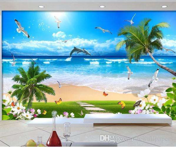 olas de coco personalizada fondos de escritorios de gama alta en el mural de la pared de la playa Fondo de decoración de hogar del papel 3d